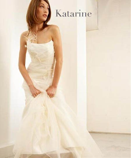 Lambert creations  'Katherine' sample organza strapless bustier & skirt