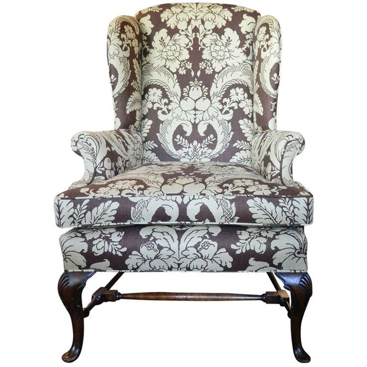 late 19th century chippendale style mahogany upholstered wing back chair