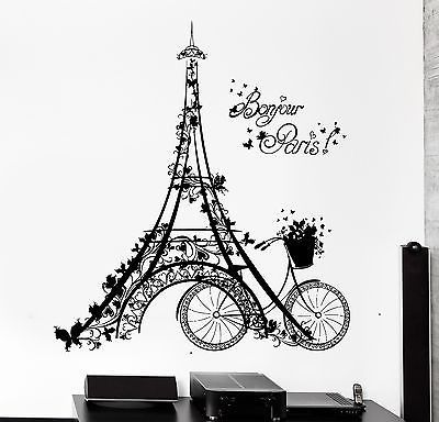 Lovely Wall Decal Paris Eiffel Tower France Bicycle Love Vinyl Decal (z3112) Part 25