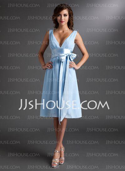Bridesmaid Dresses - $89.99 - A-Line/Princess V-neck Knee-Length Chiffon Charmeuse Bridesmaid Dress With Ruffle Sash (007000842) http://jjshouse.com/A-Line-Princess-V-Neck-Knee-Length-Chiffon-Charmeuse-Bridesmaid-Dress-With-Ruffle-Sash-007000842-g842
