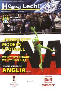 Lech Poznan 3 Man City 1 in Nov 2010 at Stadion Miejski. The programme cover for the Europa League group game.