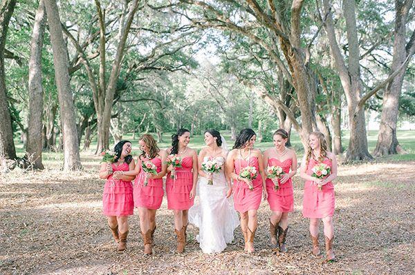 bright pink bridesmaid dresses | Julie Paisley #wedding