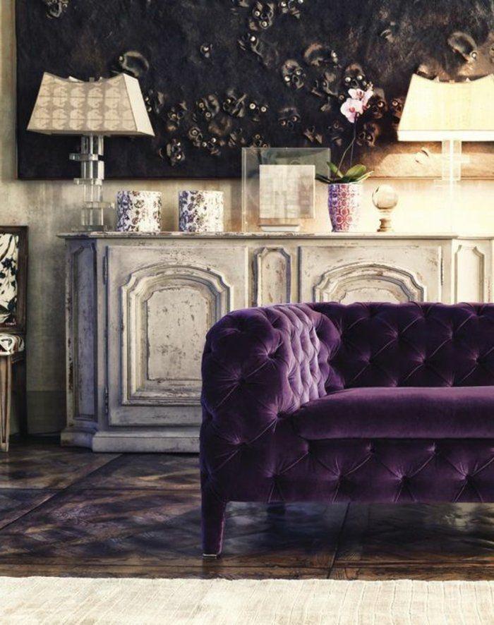 Les 25 meilleures id es de la cat gorie canap violet sur pinterest d cor v - Salon couleur violet ...