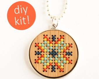 DIY Cross Stitch Kit Leather Cuff with by RedGateStitchery