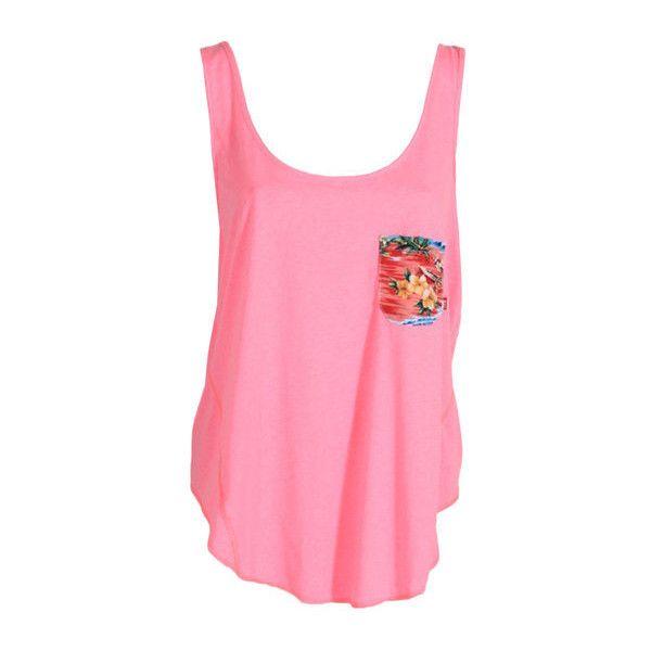 Leonards Pocket Tank ($18) ❤ liked on Polyvore featuring tops, shirts, tank tops, tanks, blusas, pink tank, pink hawaiian shirt, hawaiian print shirts, hawaiian print tops and hawaiian shirts