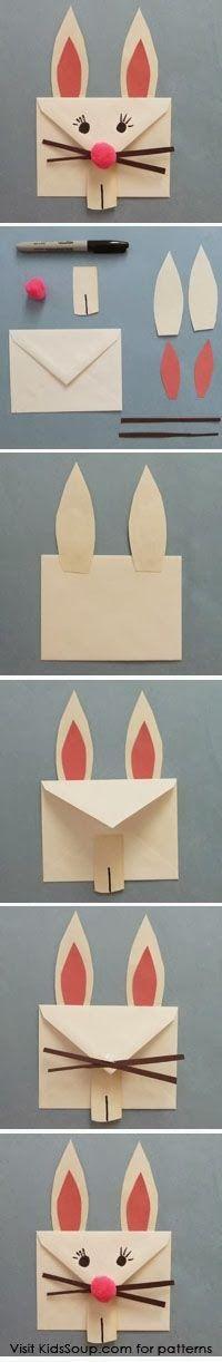 milleideeperunafesta: Pasqua: come fare una busta a forma di coniglio