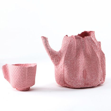 Israeli designer Rachel Boxnboim has cast a ceramic tea service inside fabric moulds.