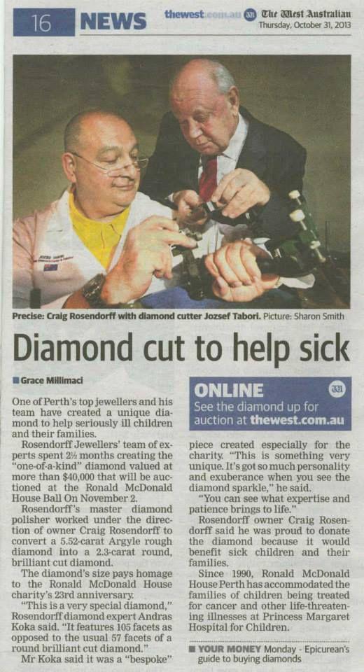 West Australian News Paper Article on Mr Rosendorffs efforts to raise money for seriously ill children.