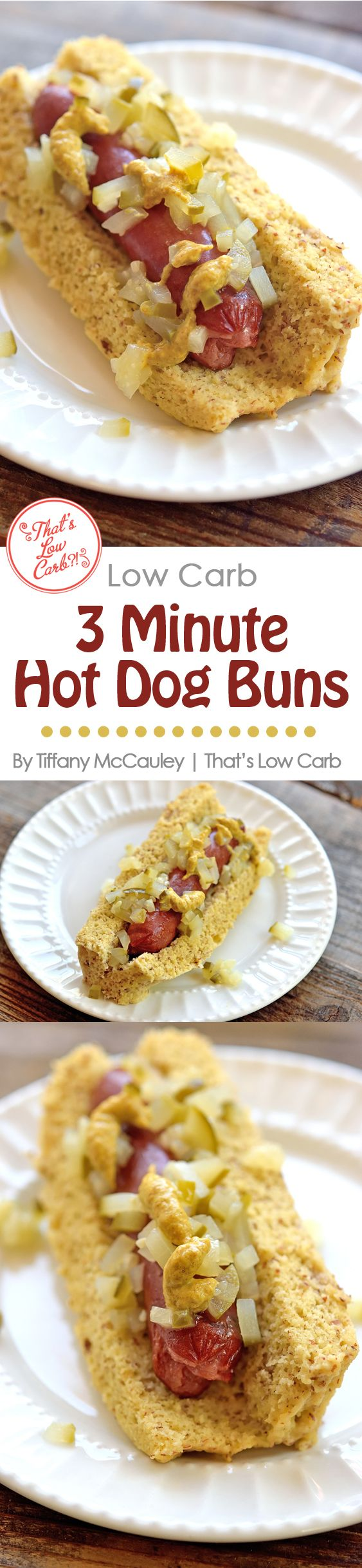 These fast and easy hot dog buns take only 4 minutes to make! They are dairy free and only 3 net carbs per bun! ~ http://www.thatslowcarb.com