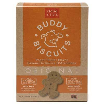 """Cloud Star Peanut Butter Buddy Biscuits Roxie really likes the crunchy peanut butter ones. I love the stuff on the inside of the box, which includes things like a crossword puzzle and the anatomy of """"Buddy"""". But the best thing I discovered about Cloud Star is their UPC donation program!"""