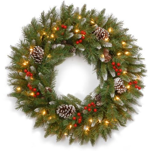 30 in. Frosted Berry Pre-Lit Wreath - Christmas Wreaths at Hayneedle