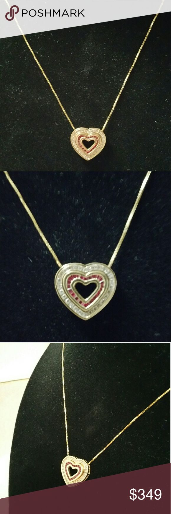 """14k gold chain and 10k gold double heart pendant Beautiful real gold necklace. The chain is 20"""" long and is 14k yellow gold.  There are actually 2 pendants. Ine set with rubies and the bigger one with diamonds. They can be worn together, as with the pictures,  or you can separate them, depending on your ootd. Jewelry Necklaces"""