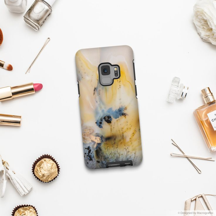 Phone case with an image of an agate mineral. Photography by Mark Windom.