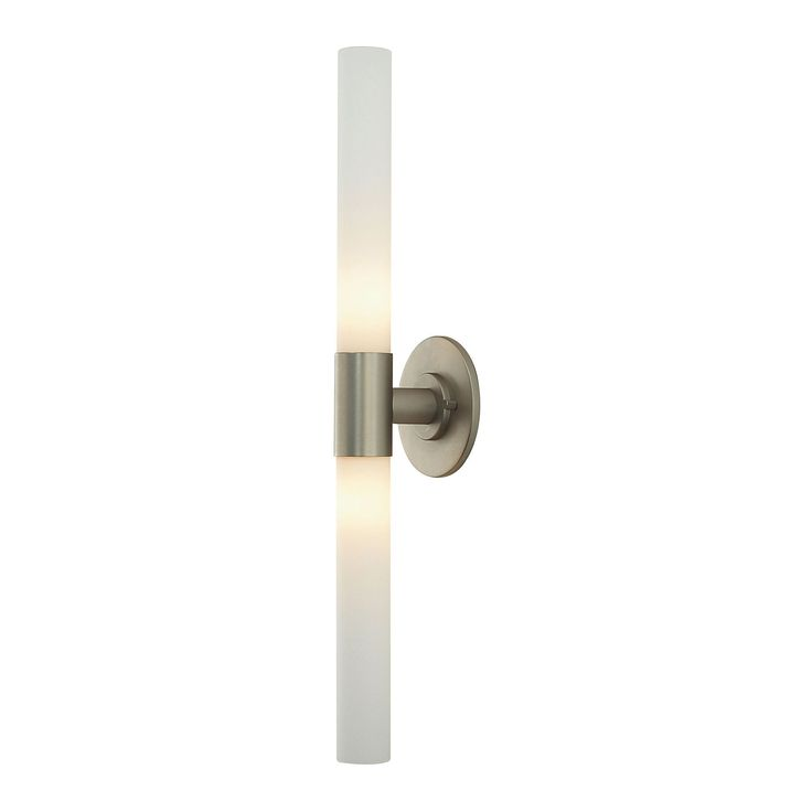 Alico Long Cylinder 2 Light Vanity In Matte Satin Nickel And White Opal Glass