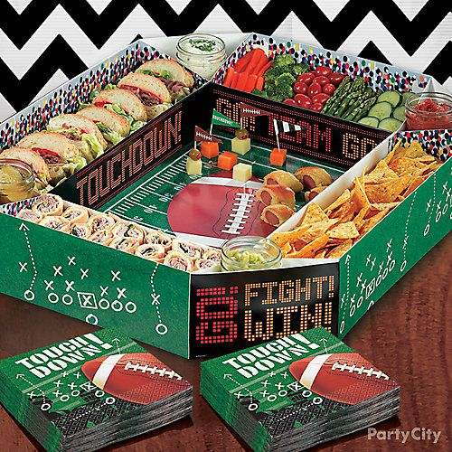 Football Stadium Snack Tray Idea  Fill two of the sides with chips and veggies to face the sandwich and pinwheel team on the other two sides. Use the corners for dips (we love salsa, ranch, guac, and honey mustard), and set up a little cheese play in the middle.