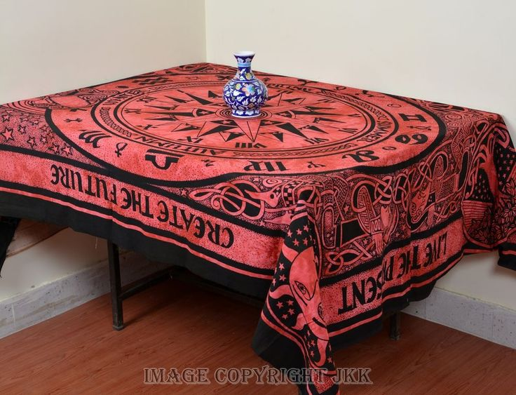 Indian Red Compass Rectangular Cotton Tablecloth Dining Table Cover IWUSTC45