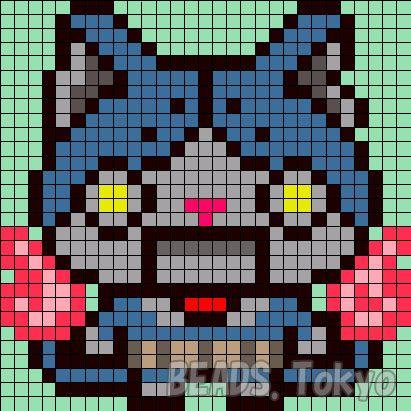 猫型ロボットのロボニャンのアイロンビーズ図案をつくったよ! ロボニャンのアイロンビーズです。ロボニャンといえば…