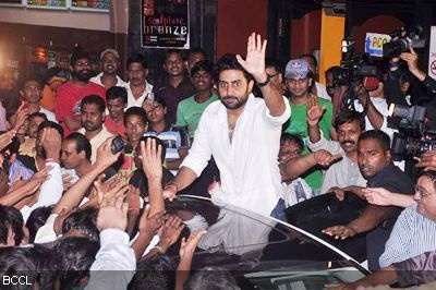 Abhishek Bachchan during the promotion of the movie 'Bol Bachchan' at Gaiety-Galaxy Theatres in Mumbai.