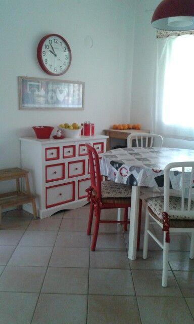 Cucina country bianco rosso nero :come recuperare una vecchia cucina anni 70'