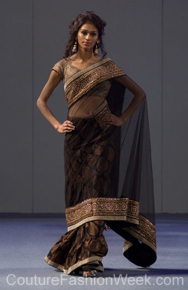 @Rochelle Hutson Kosh - Pure Elegance NY Fashion Week 2012 classic black sari #indian
