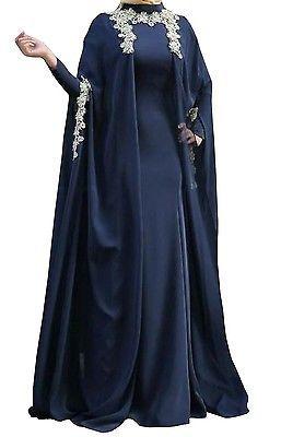 FatimaBi Plussize Farasha Kaftan Morracan style Islamic Muslim Wedding Blue Dres