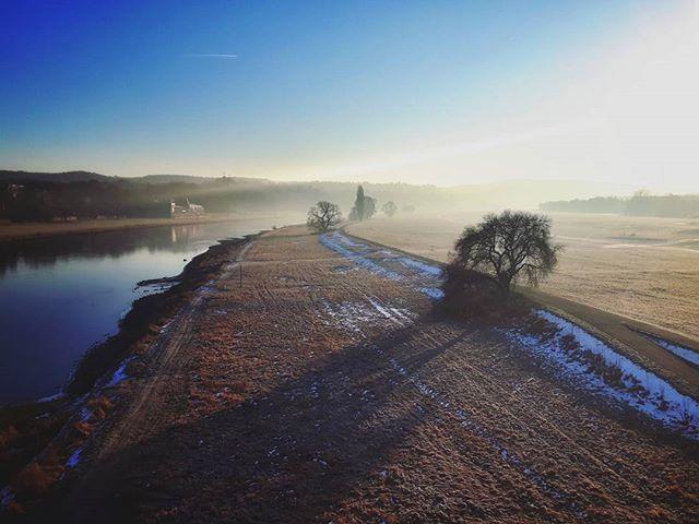 Guten Morgen Dresden.  #dresden #elbe #elbwiesen #morning #goodmorning #morninghasbroken #meindresden #thebestofdresden #deutschland_greatshots #deutschland #deutschlandkarte #srs_germany #travelgram #wanderlust #atmosphere #natureaddict #ilovenature #instanature #natureporn #agameoftones #simplysaxony #lights #reflection #sun #sunny #exploring #explore #sunrise #skyporn #treeporn