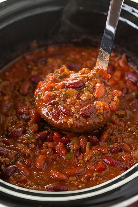 Delicious crowd-pleasing chilli. Can substitute a can of beans with carrots and celery if you like your veggies! Slow Cooker Chili   Cooking Classy