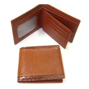 Australian emu leather wallet with emu leg trim and internal kangaroo leather, in tan.