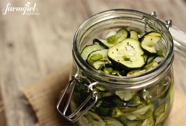 Sweet Refrigerator Dill Pickles  7 c. thinly sliced cucumbers  1 c. thinly sliced onions  1 c. diced green bell pepper  1 T. pickling salt  2 c. sugar  1 c. white vinegar  1 T. celery seed  big sprig of dill  Combine veggies & salt in large heat-proof bowl. Stir & let sit for 1 hr. Drain. In pan over medium heat, stir & disolve in sugar with vinegar, & celery seed. Pour hot mixture over cucumbers. Add dill & cool. Transfer to jars with lids & refrigerate 2 days. Keeps or a few weeks.