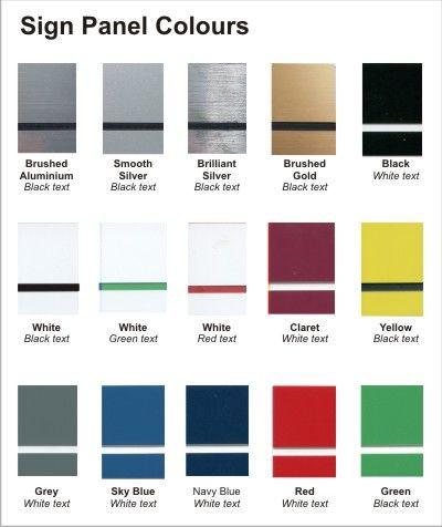 Aluminium Desk Top Name Bar colour chart   Namebar Length    200mm wide (A$28.50)    250mm wide (A$33.00)    300mm wide (A$35.75)