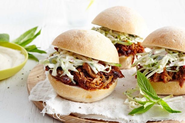 Tender pulled pork rolls with apple and radish coleslaw make a fantastic lunch time feast.