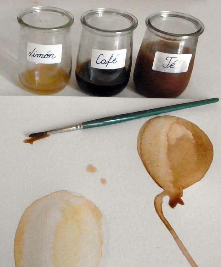 Colores naturales  Concentrado de té para el color marrón claro, café para el color marrón oscuro y limón para aclarar estos colores.