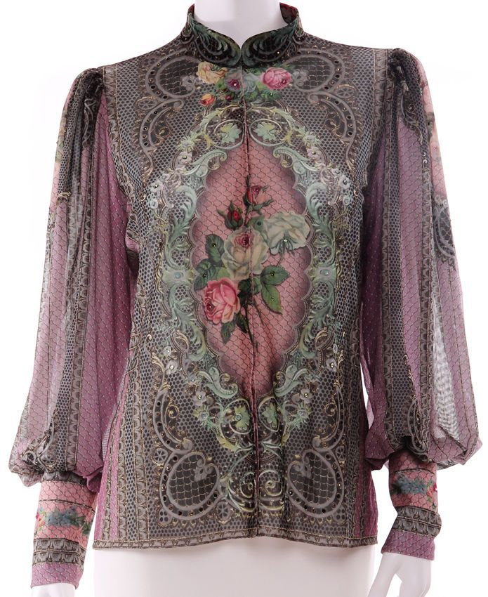 Michal Negrin Purple Victorian Style Victoriana Roses Crystals Blouse Shirt Top #MichalNegrin #ButtonDownShirt