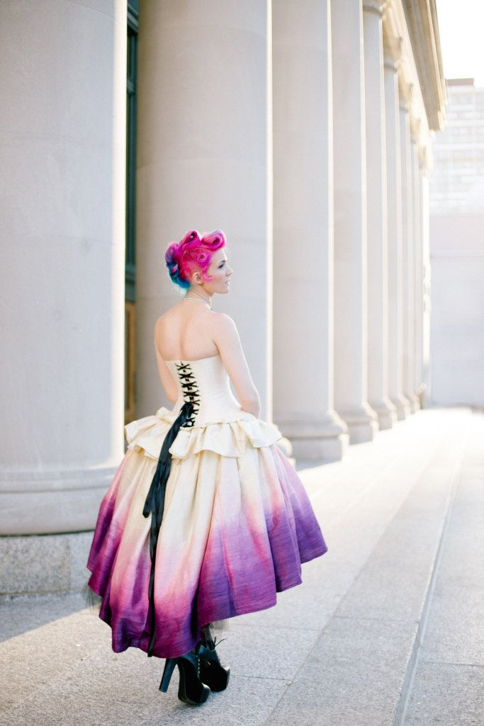 Tips for buying a wedding dress on Etsy. Note to self: try to dye the hem of a silk dress like this. Awesome!