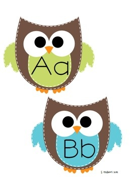 Owl Themed Word Wall Letter Cards and 300 Words image 2