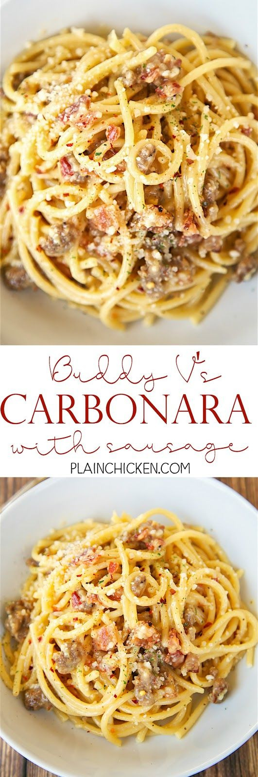 Blue apron bucatini - Bucatini Carbonara With Sausage Recipe From Buddy V S In Las Vegas So Easy To