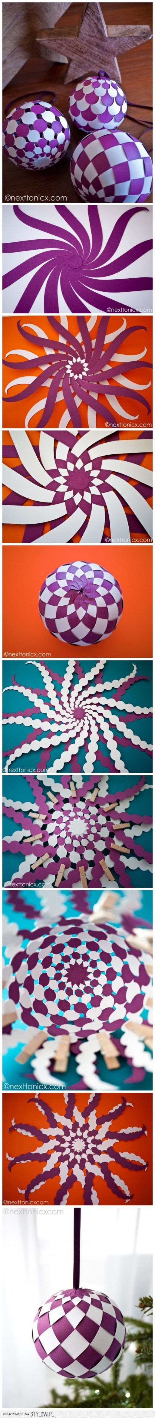 How to make pretty woven paper baubles step by step DIY… na Stylowi.pl