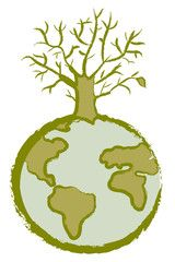 Icona per effetto serra: pianeta terra con albero secco.
