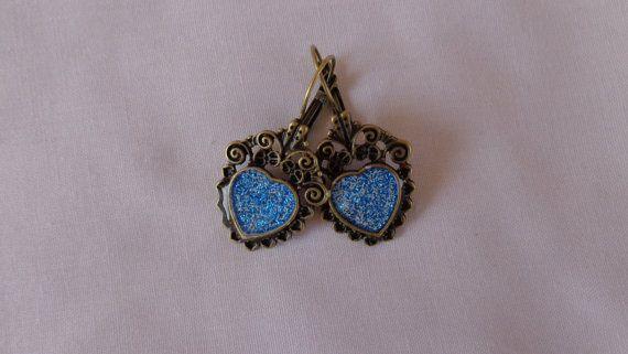 Antique gold vintage earrings blue glitter by ArtisticBreaths