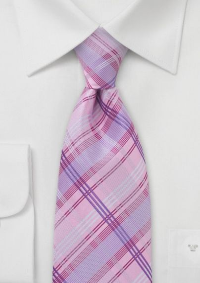 Checkered Tie in Pink Lavender Magenta