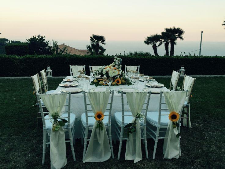 Wedding Day, Wedding table, white chairs, Villa Minuta, Scala, White, Yellow and Orange colors, Olga Studio, Sposa Mediterranea, Federica wedding Planner, sunset
