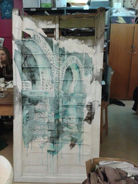 Finished A-level final piece, done using ink, bleach and white emulsion