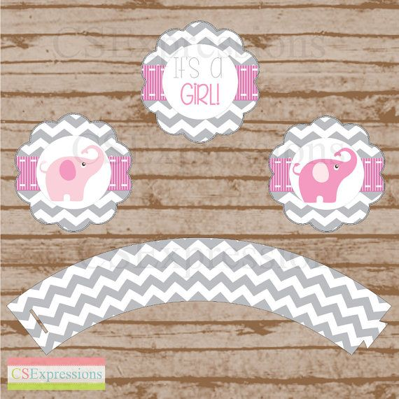 Pink and Gray Chevron Elephant Baby Shower Cupcake by CSExpressions