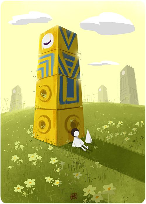 chouling:  Ida and Totem at rest.This is probably the most creative game I've ever played. Kudos to Ustwo Games and the geniuses behind this game!