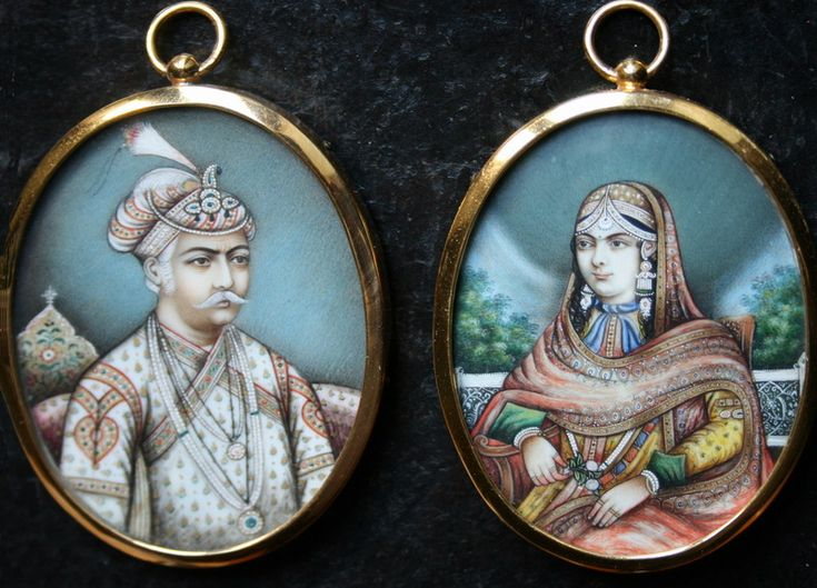 "Posthumous portraits of Mughal Empreror Akbar (1542 - 1605) and wife Jodhabai. Anglo-Indian (or ""Company School"") tradition at Delhi, circa 1840. Gouache and gold on ivory in 20th century frames (retaining original domed glass). Each 6.3 x 5cm."