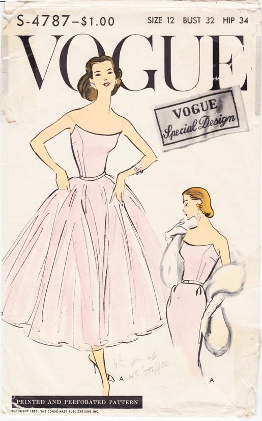"1950's Ladies Dress Vogue S-4787 Size 32"" Bust for sale at mrsdepew.com."