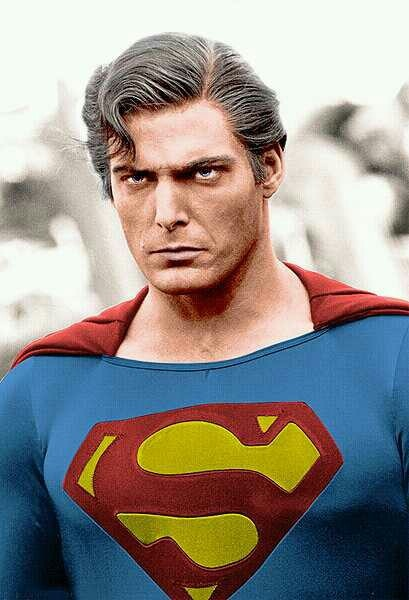 """Christopher Reeve as the """"evil"""" incarnation of Superman from the film """"Superman III"""". 1983."""