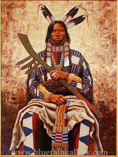 "Paul Surber, ""Yankton Sioux,"" original painting, oil on canvas, at Blue Rain Gallery, Santa Fe, NM. www.blueraingallery.com"