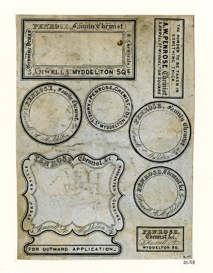 Free downloads- Antique Penrose Chemist Labels- cool lab set up labels from the British Museum