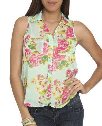 Wet Seal Women's Sleeveless Floral Chiffon Shirt XL Mint